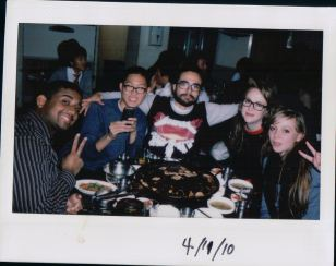 friends and food, first day I met Kevin